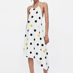 Zara POLKA-DOT HALTER DRESS-5580/067-White/yellow